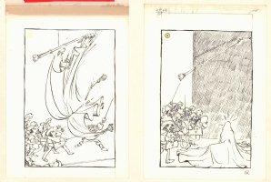 Swordsman Cutting Down Tapestry Gag - Sold as a Pair -  Comic Art