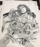 Avengers Team Poster - Captain America, Black Widow, Vision, & Others - LA - Early 1990's Signed by Stan Lee! Comic Art