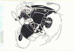 Ghost Rider on Bike Character Design Comic Art