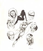 DC Retroactive: Flash - The '80s #1 Cover - LA - Flash, Trickster, Captain Cold, Pied Piper, Mirror Master, & Captain Boomerang - 2011 Signed Comic Art