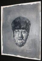 The Wolfman Universal Monsters Portrait B&W Painted Art - LA - Signed