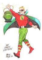 Golden Age Green Lantern Alan Scott Color Commission - 1999 Signed Comic Art