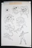 Spider-Man: Caught in the Web Children's Book Sticker Art - Spidey, Scorpion, and the Hobgoblin - 1997 Comic Art