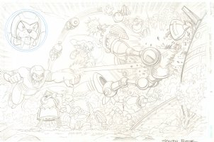 Sonic the Hedgehog #240 p.4 - All Pencil Action Page -  2012 Signed Comic Art