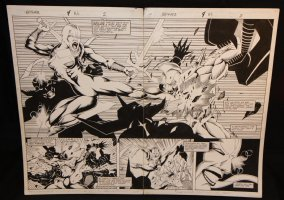 Brigade #4 pgs. 2 & 3 - Sword Fight Action DPS - 1993 Comic Art