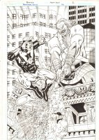 Booster Gold #33 p.2 - Booster Gold vs. Brigadoom Splash - 2010 Signed Comic Art