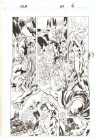 JLA #119 p.6 - Hawkman, Green Lantern, Flash, Superman, & Catwoman vs. Despero - 2005 Signed Comic Art