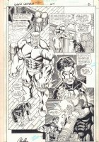 Green Lantern #107 p.2 - Kyle Rayner vs. Sledge - 1998 Signed Comic Art