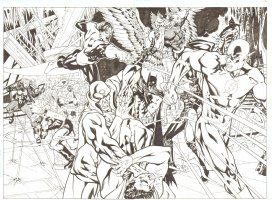 Justice League of America - Double Page Spread - Desporo Takes over JLA Battle Comic Art