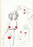 4 Nude Drawings on Double Sided Paper - Signed *Adults Only* Comic Art