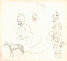 Conan the Adventurer Model Sheet - Two Warriors and a Horse  Comic Art