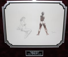 Pencil White & Watercolor Black Nudes on One Piece - Framed - Signed