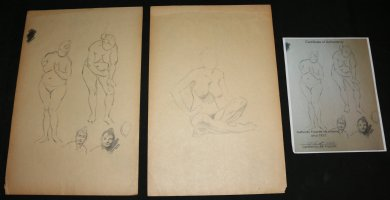 Life Drawings 2pc Set - LA - Two Standing, Two Portraits, and One Sitting Pencil Drawing - With COA from the Family