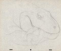 Fire and Ice Dinosaur Eating Caveman Pencil Piece Comic Art