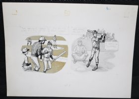 Baseball Art p.1 - Little Leaguer Tommy at Bat Comic Art