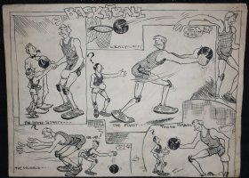 Basketball Gag - Old Artwork Comic Art