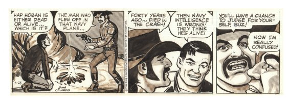 Buz Sawyer Daily Strip - Buz Held Hostage - 4/23/1985 Signed Comic Art