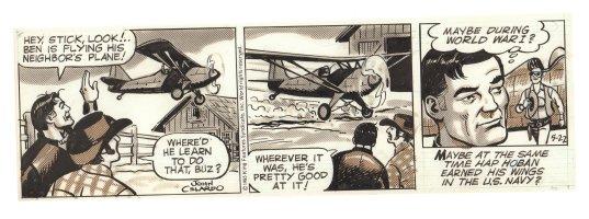 Buz Sawyer Daily Strip - Airplane Landing - 5/22/1985 Signed Comic Art