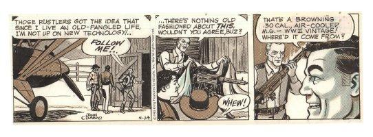 Buz Sawyer Daily Strip - WWII Vintage Machine Gun - 5/24/1985 Signed Comic Art