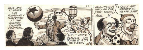 Buz Sawyer Daily Strip - Circus Clowns - 5/7/1986 Signed Comic Art