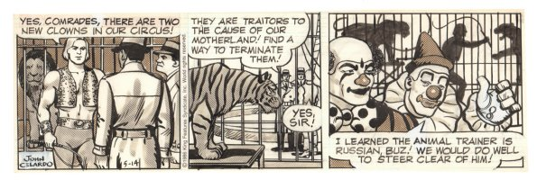 Buz Sawyer Daily Strip - Circus Clowns, Lion, and Tiger - 5/14/1986 Signed Comic Art