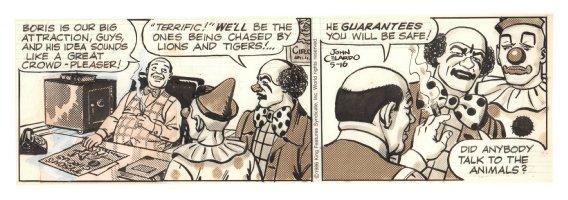 Buz Sawyer Daily Strip - Circus Clowns - 5/16/1986 Signed Comic Art