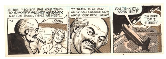 Buz Sawyer Daily Strip - Sherri and Buz Flying - 7/3/1987 Signed Comic Art