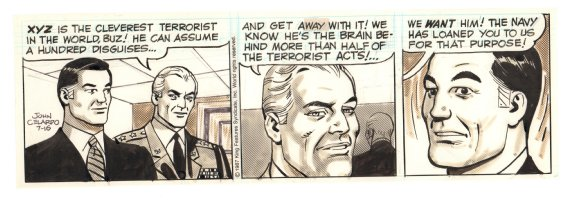 Buz Sawyer Daily Strip - XYZ is the cleverest terrorist in the world! - 7/16/1987 Signed Comic Art