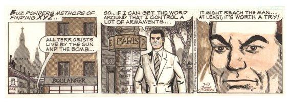 Buz Sawyer Daily Strip - Buz in Paris looking for XYZ - 7/18/1987 Signed Comic Art