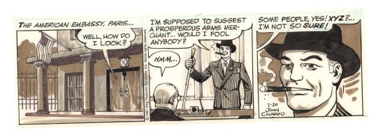 Buz Sawyer Daily Strip - American Embassy in Paris - 7/20/1987 Signed Comic Art