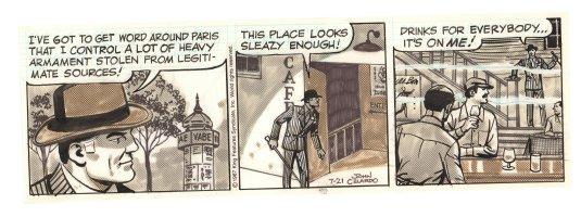 Buz Sawyer Daily Strip - Buz in a sleazy Paris bar - 7/21/1987 Signed Comic Art