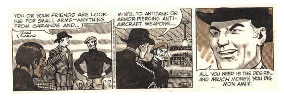 Buz Sawyer Daily Strip - Buz in Paris at Arms Deal - 7/23/1987 Signed Comic Art