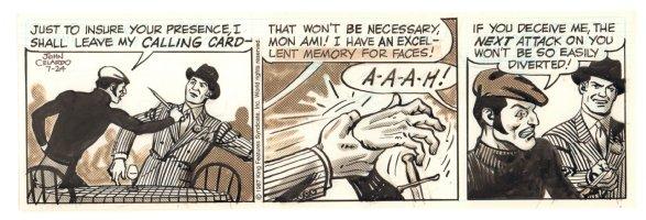 Buz Sawyer Daily Strip - Buz thwarts knife attack - 7/24/1987 Signed Comic Art