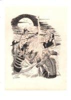 Beach Campfire Scene Illo - Signed Comic Art