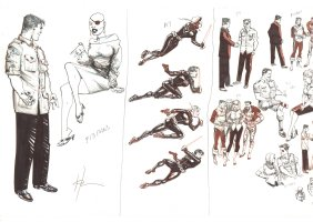 22 Characters Design Art - Nick Fury & Kraven - Signed  Comic Art