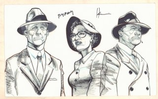 American Flagg Model Sheet - Two Men and a Woman - Signed Comic Art