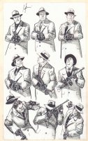 American Flagg Model Sheet - 9 Gangsters - Signed Comic Art