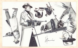 American Flagg Model Sheet - 5 Gangsters - Signed Comic Art