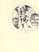 Gwendolyn  with Spear Drawing Montage - Signed 1984 Comic Art