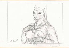Female Egyptian Goddess Pencil Drawing - Signed Comic Art