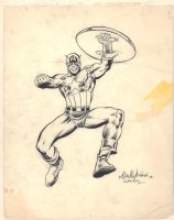 Captain America Drawing - 1980 / 2001 Signed Comic Art