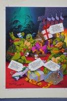 Teenage Mutant Ninja Turtles 1992 Winter Magazine Christmas Full Color Pin-up - Signed Comic Art