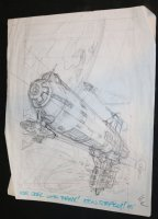 Spaceship Layout for Painting - 1985  Comic Art