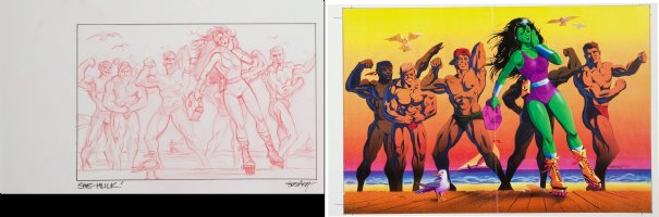 Marvel Super Hero Illustration Preliminary Sketch - She-Hulk at the Beach - 1991 Signed Comic Art
