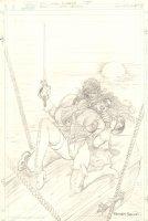 Lady Rawhide #5 Cover Pencil Prelim - Ignacio Rocho Choking Out Lady Rawhide - 1997 Signed Comic Art