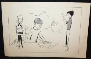 4 Children Playing Children's Book Illo - 1960's Comic Art