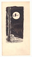 Hansel & Gretel Lost at Night in the Spooky Woods Children's Book Illo - 1960s Comic Art