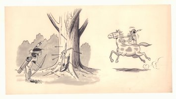 Indian Boy Shooting Arrows at Rabbit and Riding Horse - 1960s Comic Art