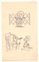 Baby Behind Gate and Husband with Wife Chores Gag - 1960s Comic Art