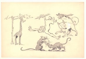 Giraffe, Monkey, Fox, Wolf, and Rats Illos - 1960s Comic Art